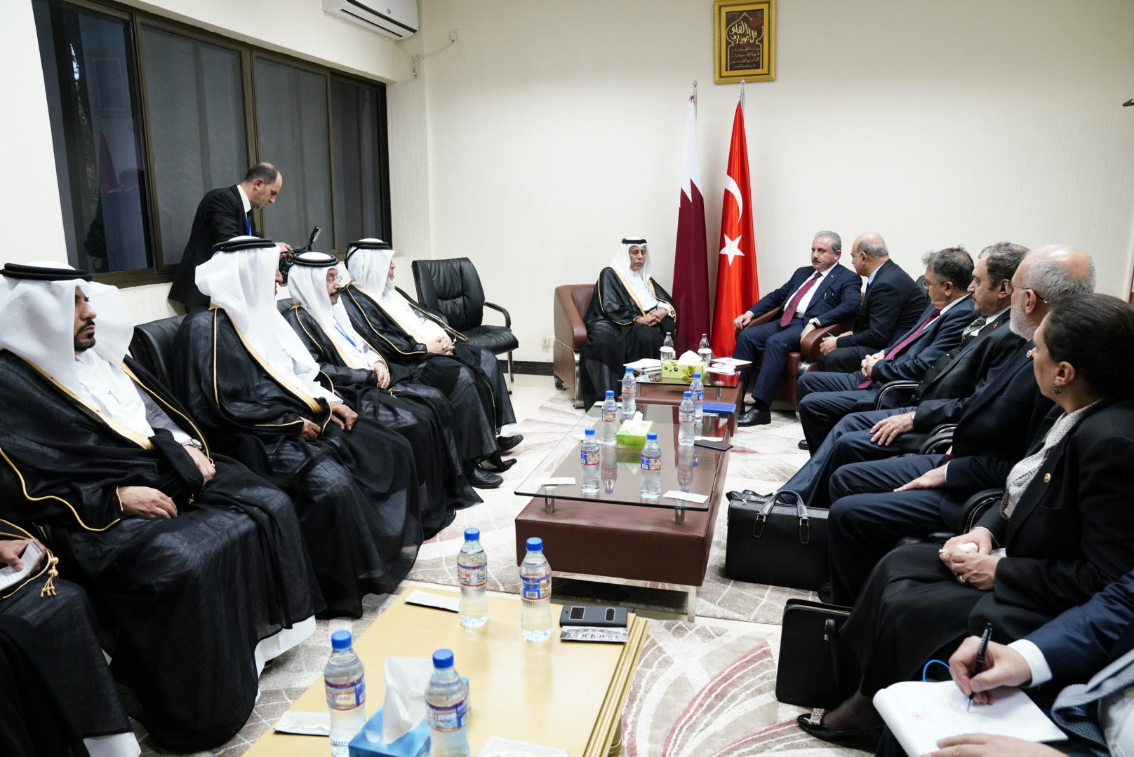 Speaker of Shura Council meets with his Turkish and Ugandan counterparts